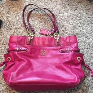 Coach Hot Pink Leather Tote